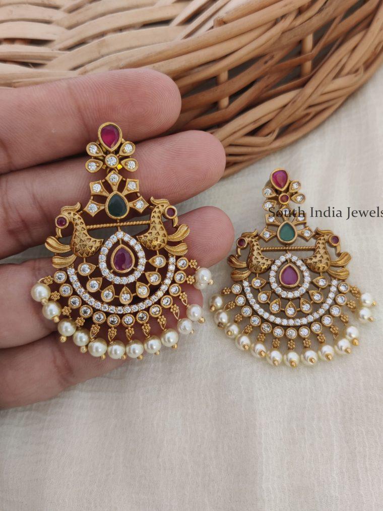 Retro Chandabali Ad Stone Peacock Earrings