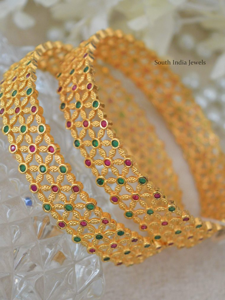 Ruby & Emerald Stone Gold Polish Bangles