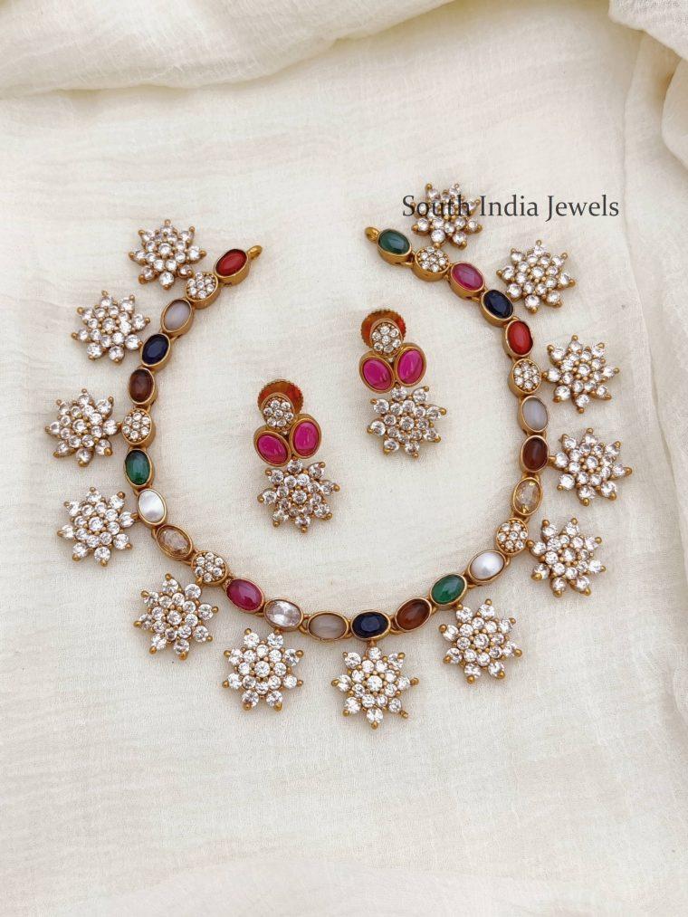 Traditional Diamond Alike Navarathna Necklace
