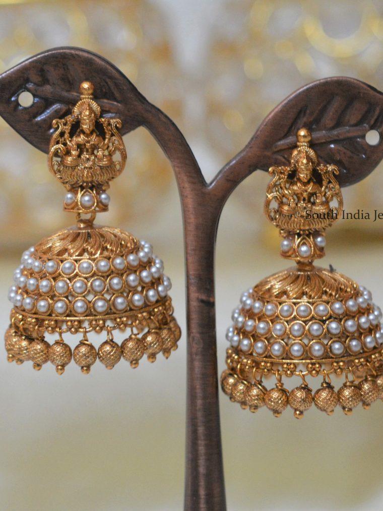 Traditional Lakshmi Design Pearl Jhumkas