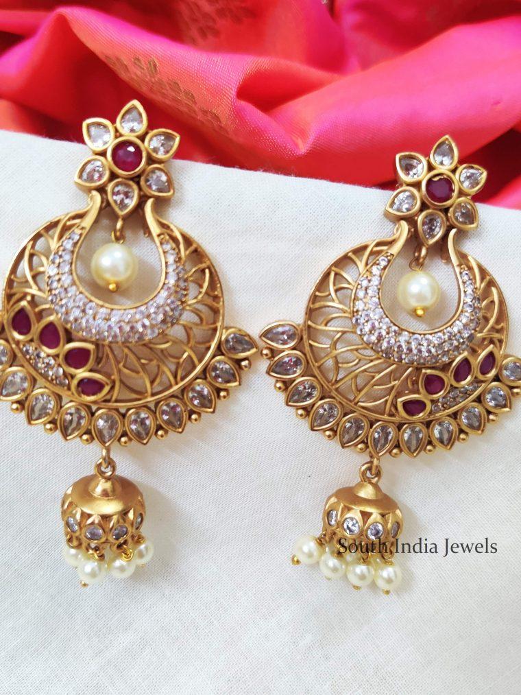 Trendy AD & Ruby Stone Earrings