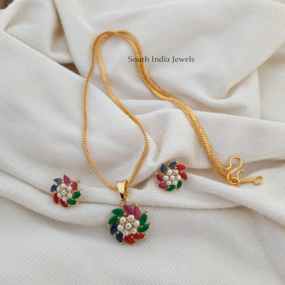 Trendy Flower Design Pendant with Chain