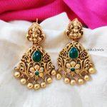 Trendy Green Stone Lakshmi Earrings