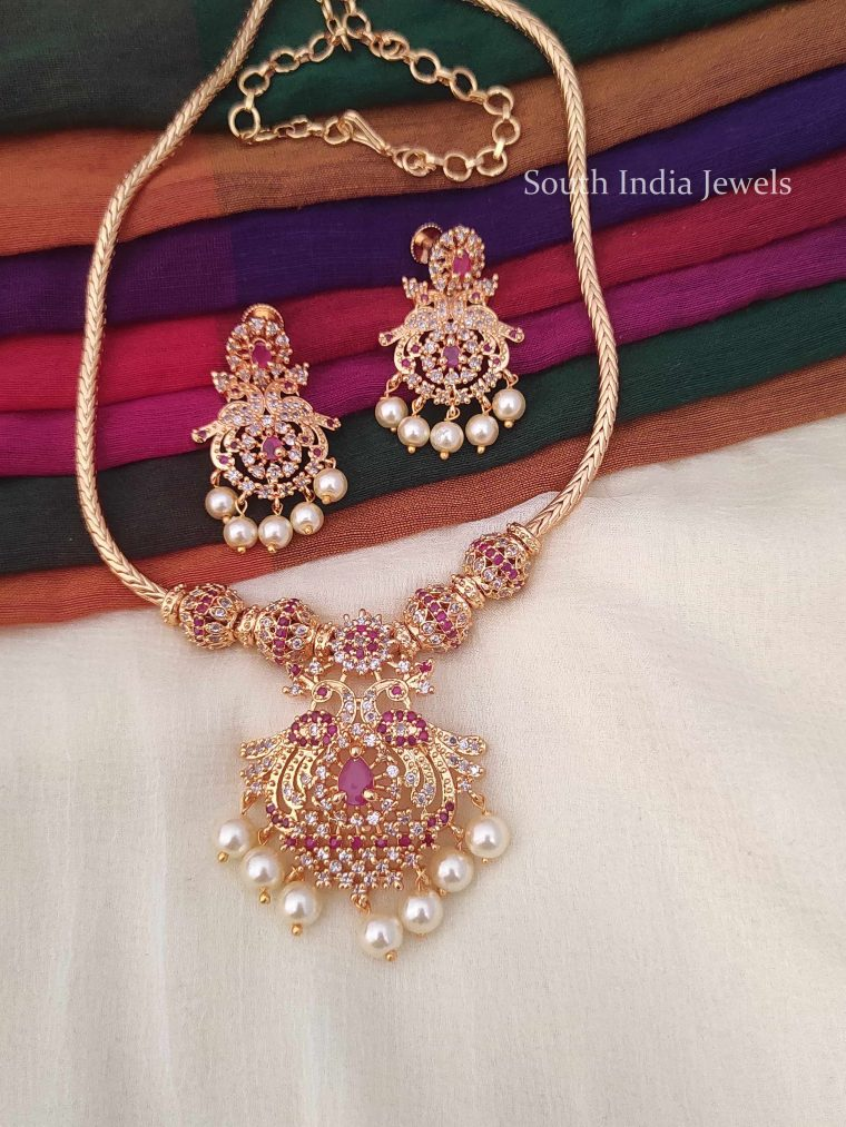 Trendy Pink & White Stone Pearl Drop Necklace