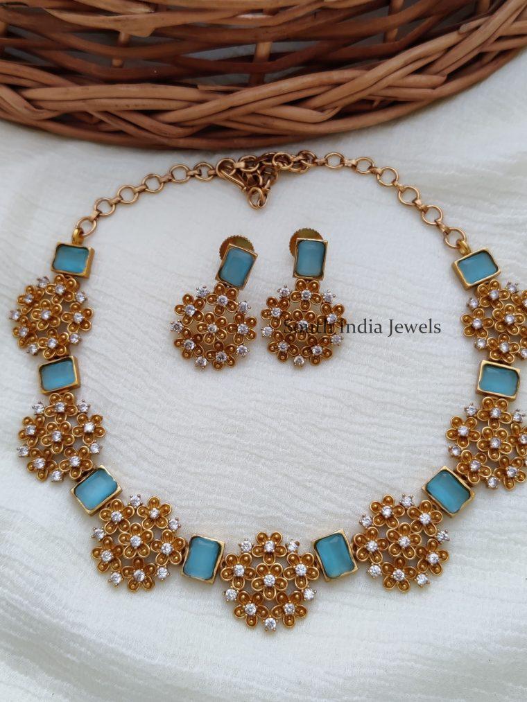 Trendy Sky Blue Color Necklace