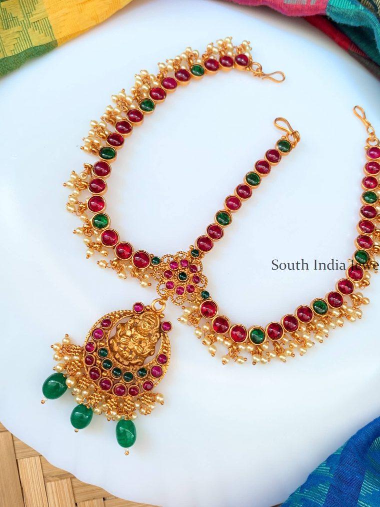 Unique Lakshmi Design Green Beads Head Set