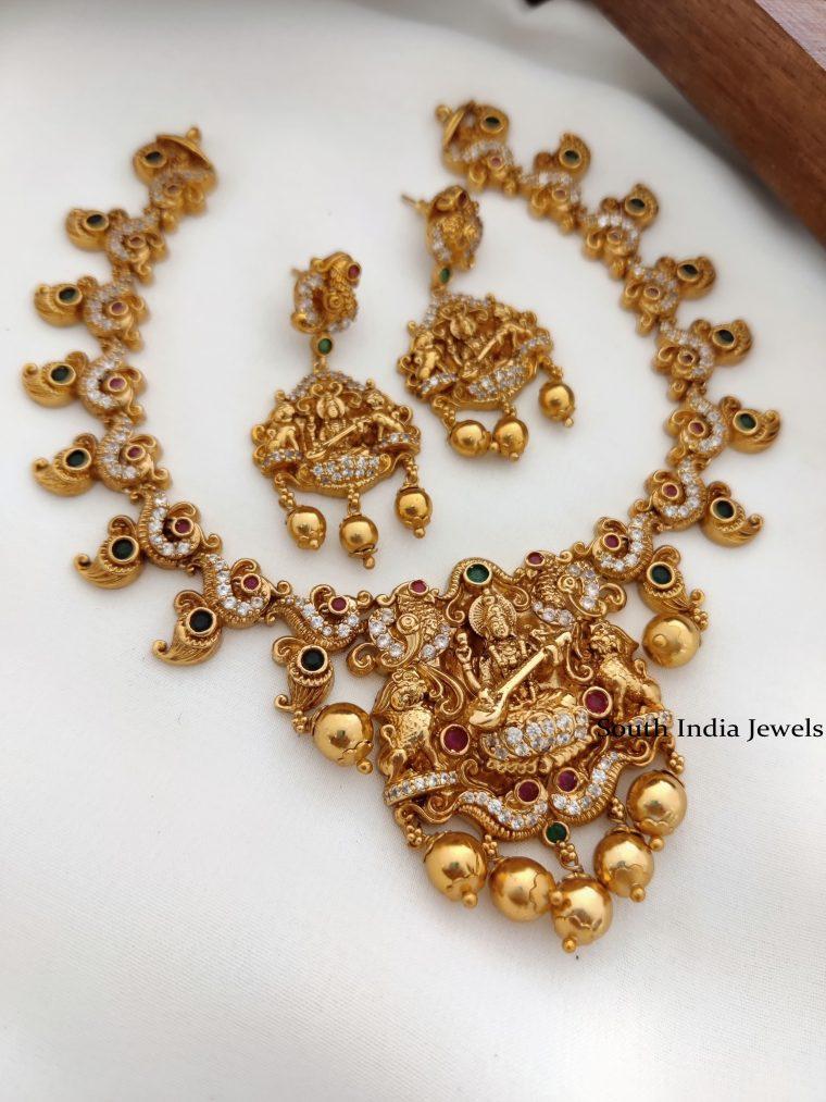 Unique One Gram Gold Polish Lakshmi necklace