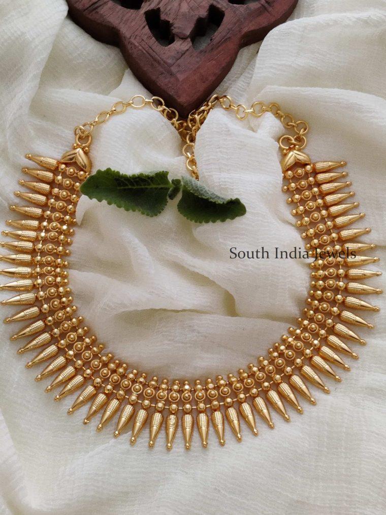 Unique One Gram Gold Polish Mullamottu Necklace