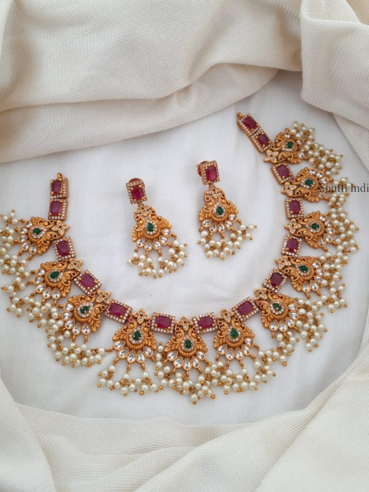 Unique Ruby & Emerald with Pearl Necklace