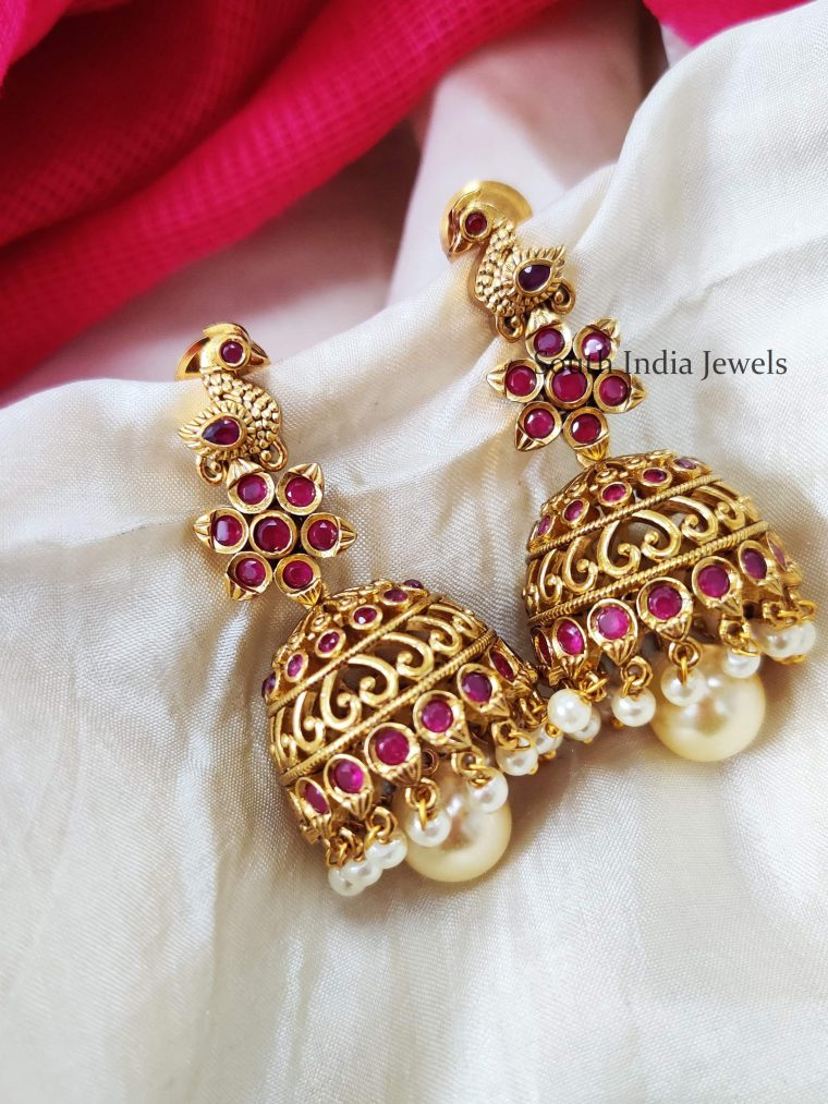 Unique Ruby Stone Peacock Jhumka