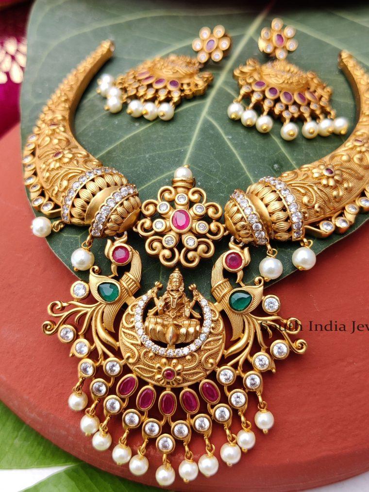 Unique lakshmi Dollar with Elephant Horn Necklace