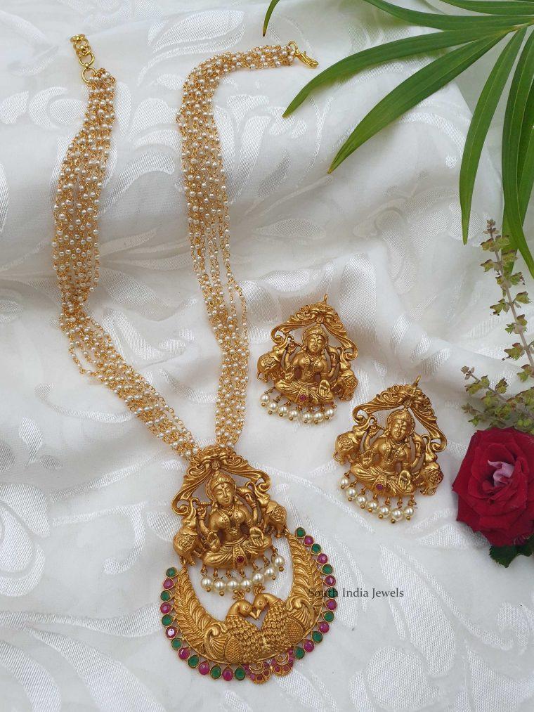 Alluring Lakshmi Pendant with Pearl Chain