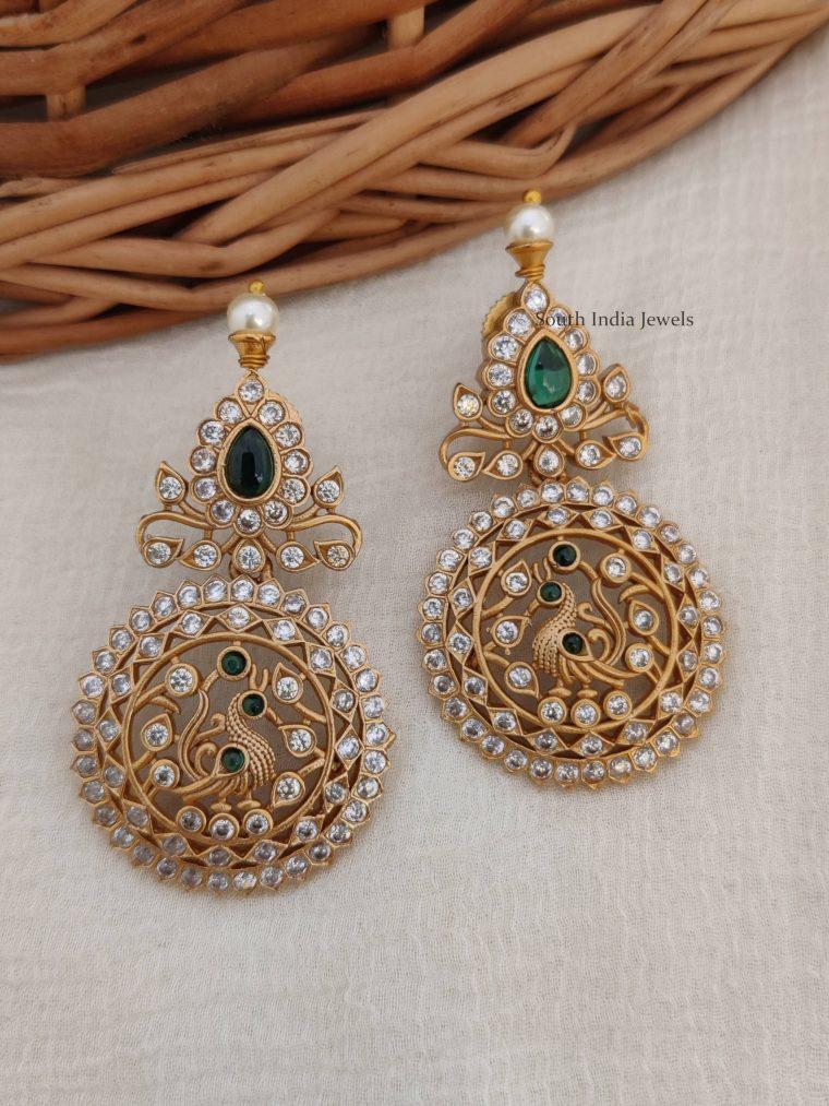 Amazing Peacock Design AD Stone Earrings (2)