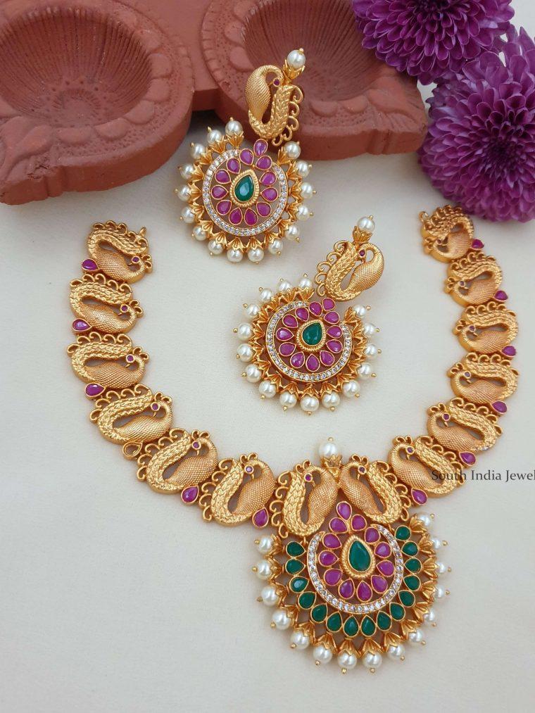 Amazing Peacock Design Matte Necklace