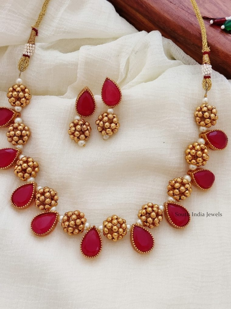 Antique Finish Gold Bead Necklace