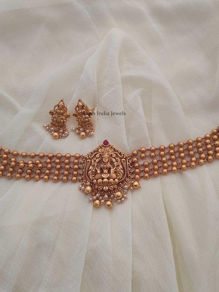 Antique Lakshmi Design Beads Choker