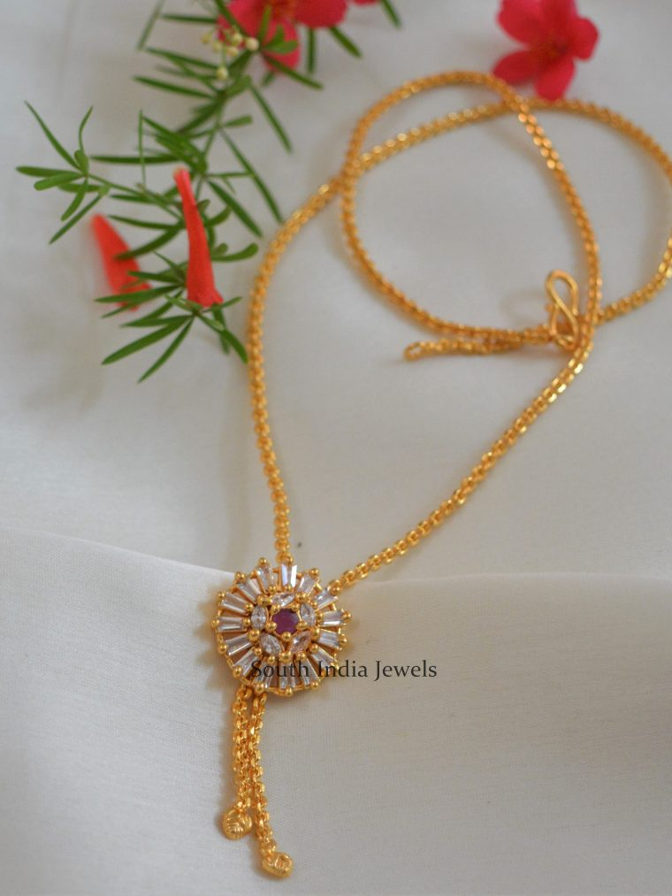 Beautiful AD Ruby Stone Chain with Pendant