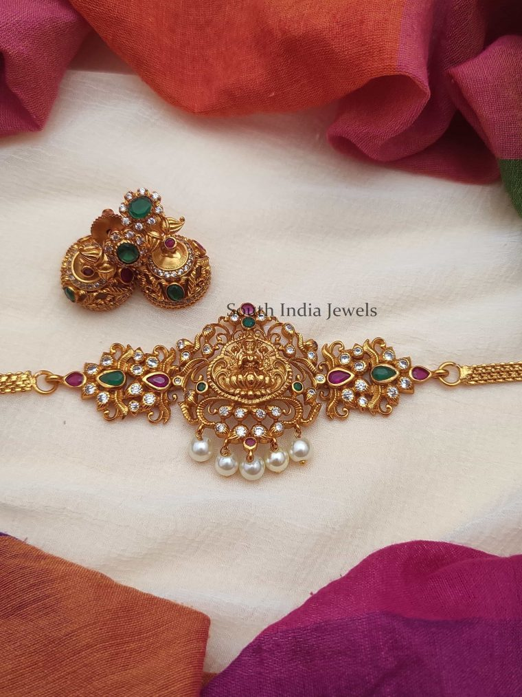 Beautiful Lakshmi Choker With Red and Green Stones