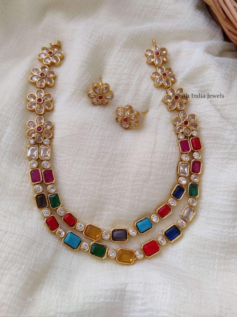 Beautiful Navarathna & AD Stone Necklace