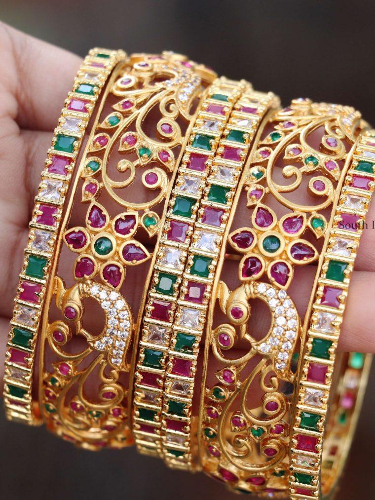 Beautiful Peacock Design Bangle Set