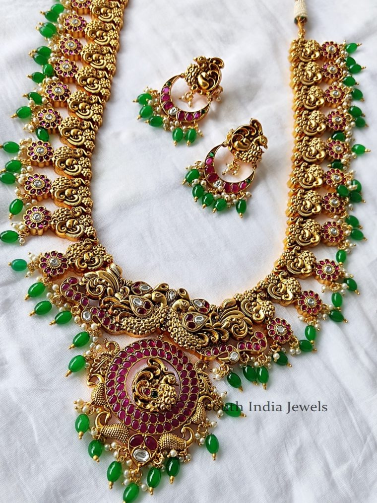 Beautiful-Peacock-Long-Necklace-With-Kemp-Stones