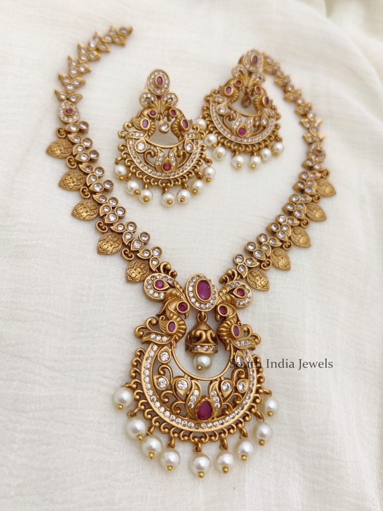 Beautiful Peacock Necklace with Pearls -01
