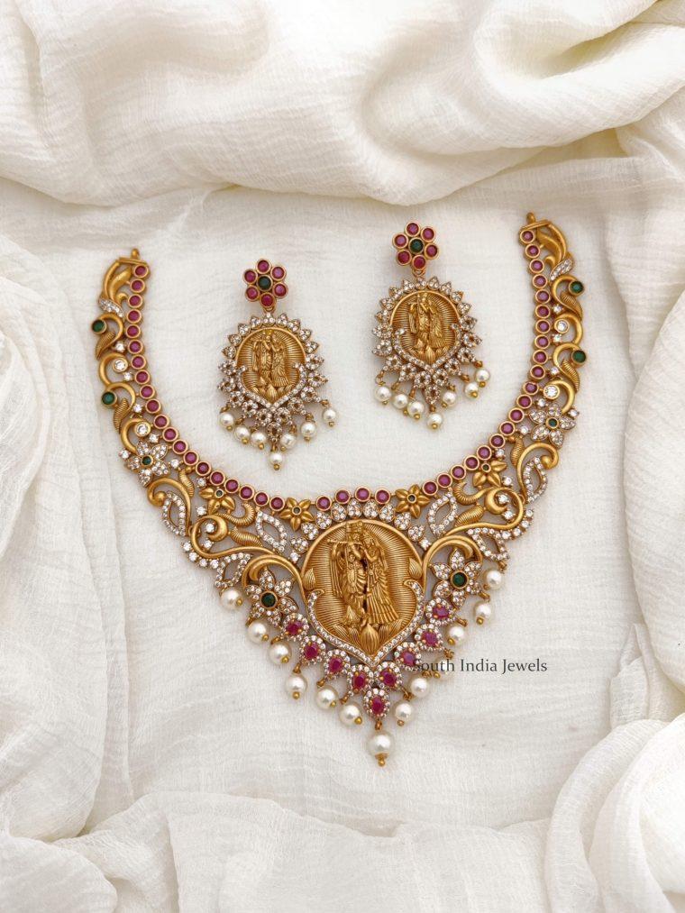 Beautiful Radha Krishna AD Necklace (2)