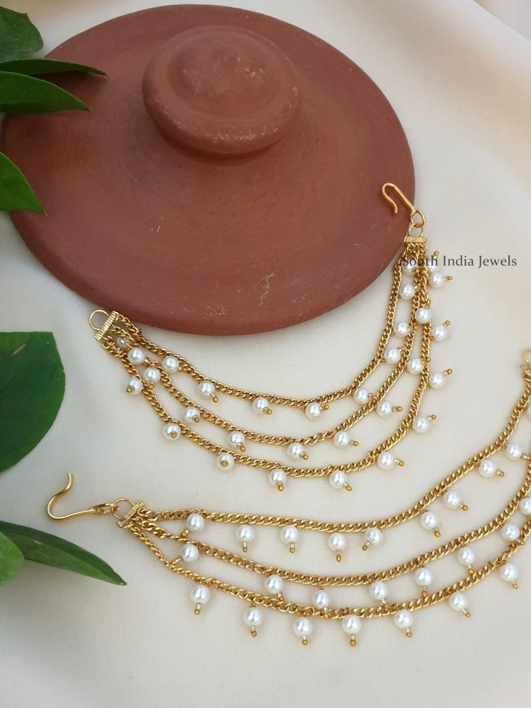 Beautiful Three Layer Pearl Ear Chains
