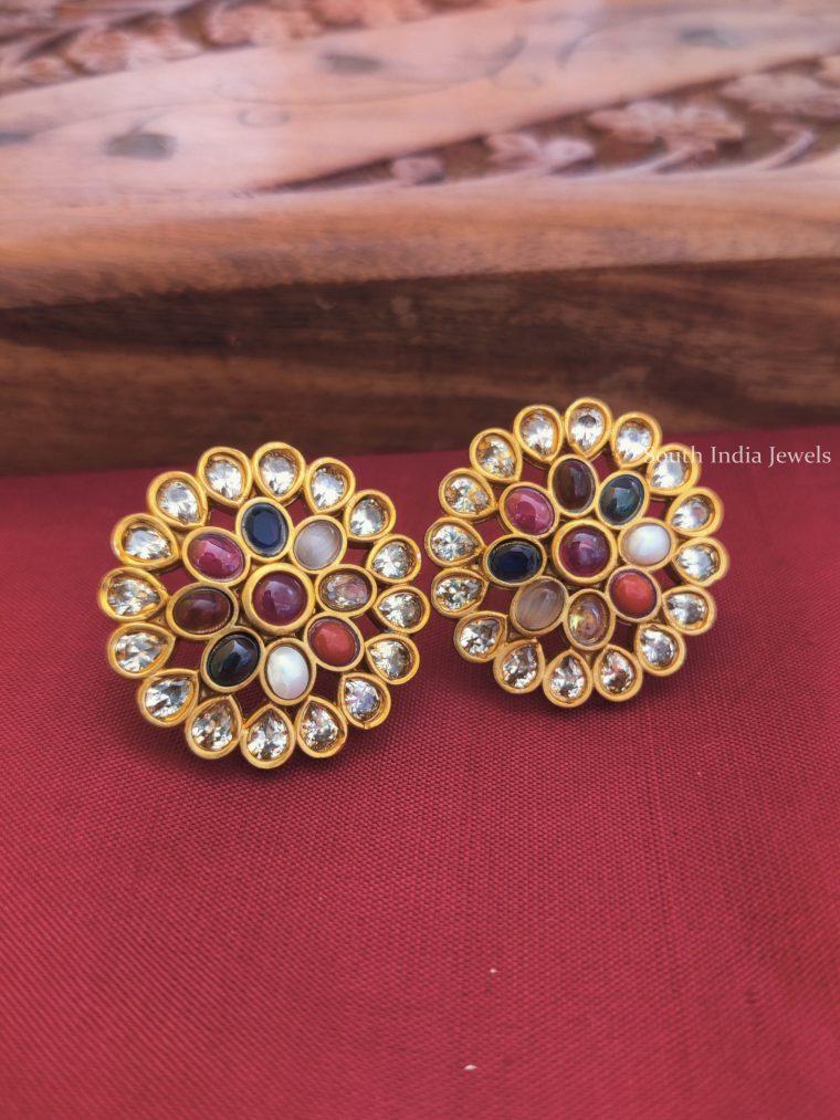 Classic Navarathna Ear Stud Earrings