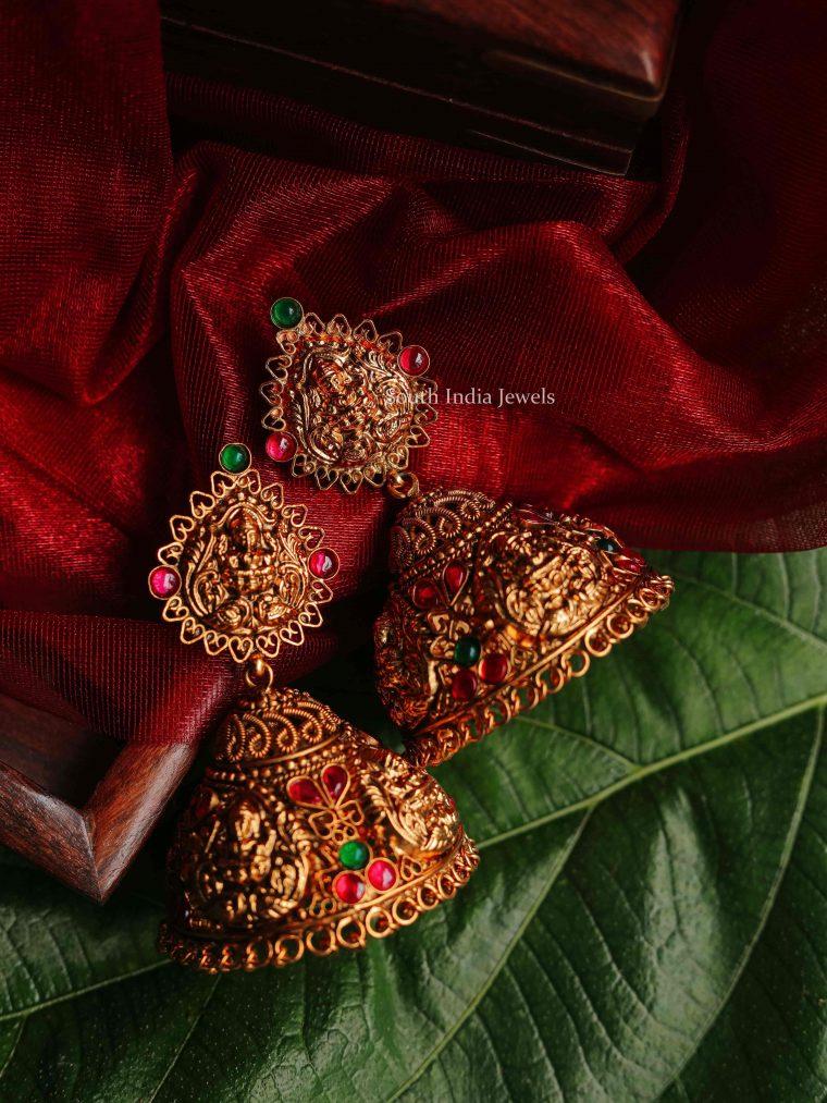 Divine Gold Finish Lakshmi Jhumkas (2)