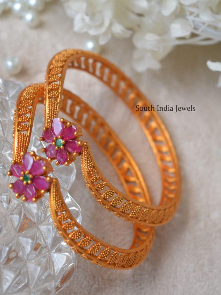 Elegant Flower Design Bangles