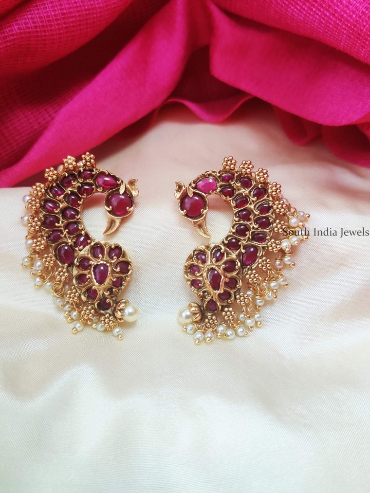 Elegant Peacock Design Ear Cuffs