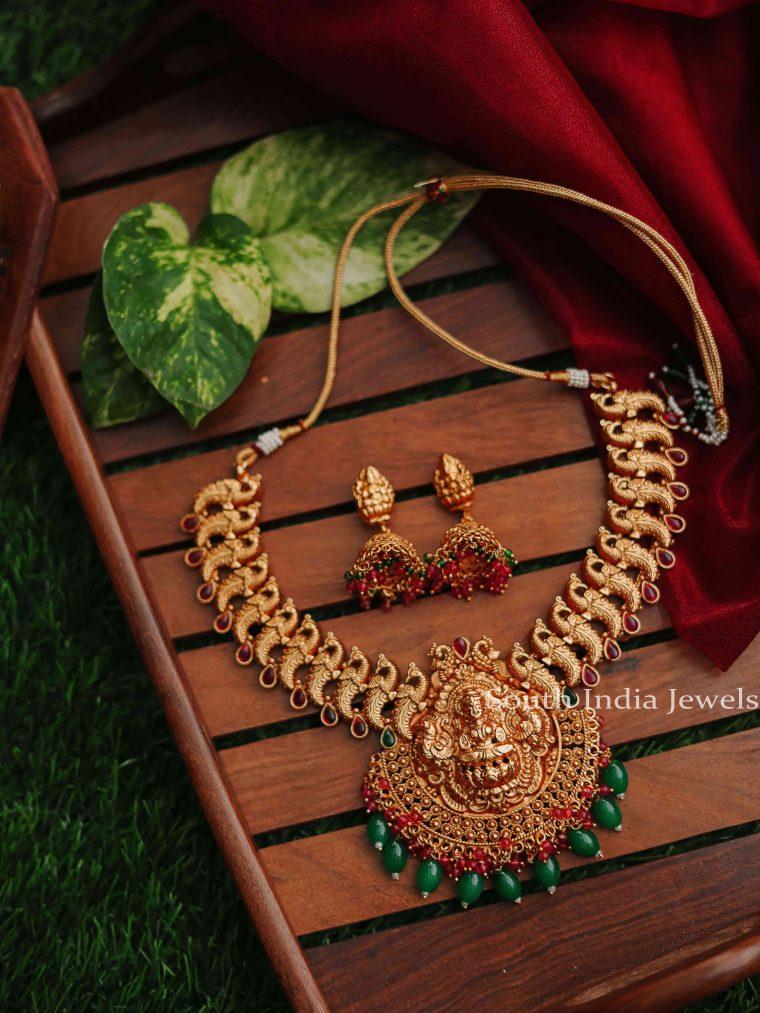 Elegant Peacock & Lakshmi Design Necklace