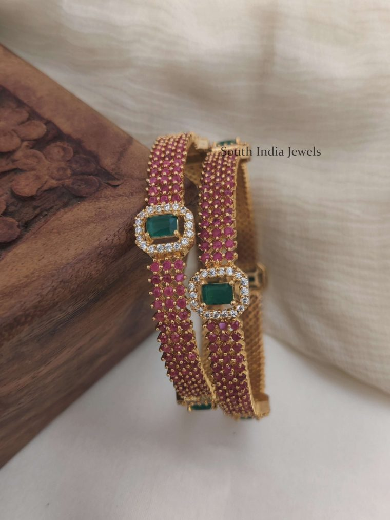 Elegant Ruby & Green Stone Bangle Set