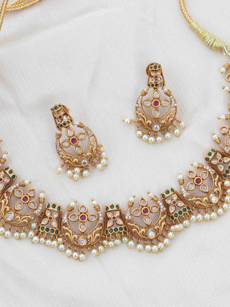 Fabulous Half Moon Design Necklace