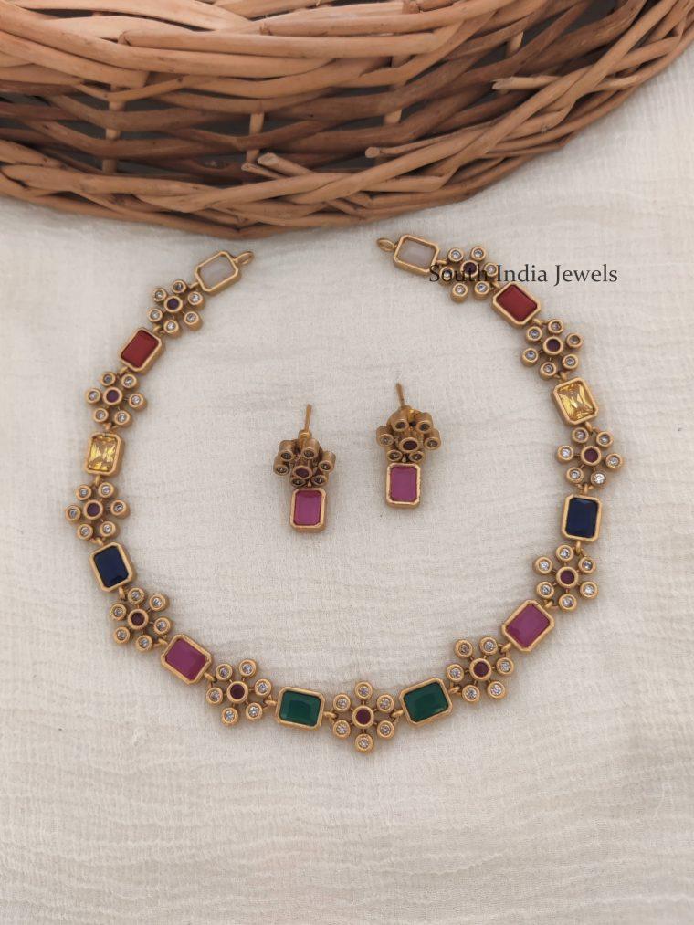 Floral Design Multi Stone AD Necklace