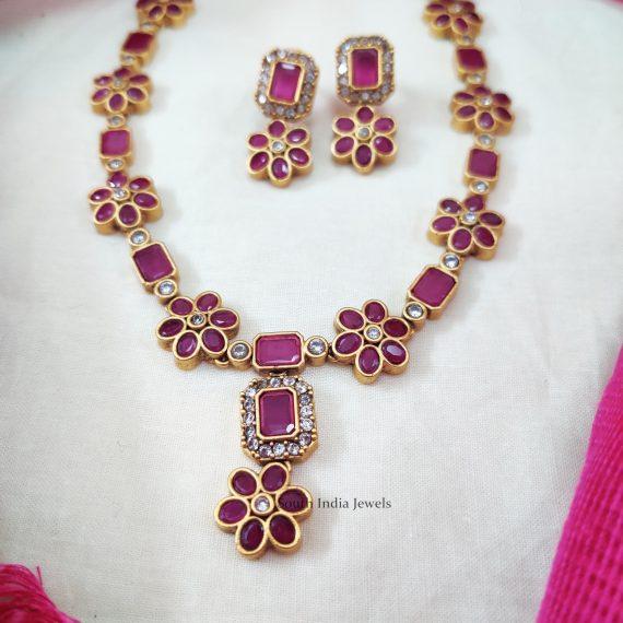 Floral Design Stone Necklace (3)