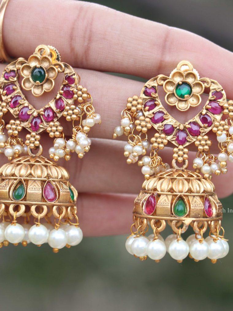 Flower Design Gold Finish Earrings (2)