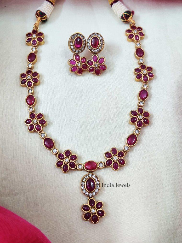Flower Design Kemp Stone Necklace