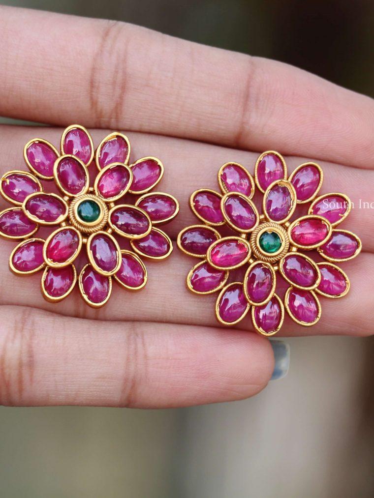 Flower Design Ruby Stone Earrings (2)