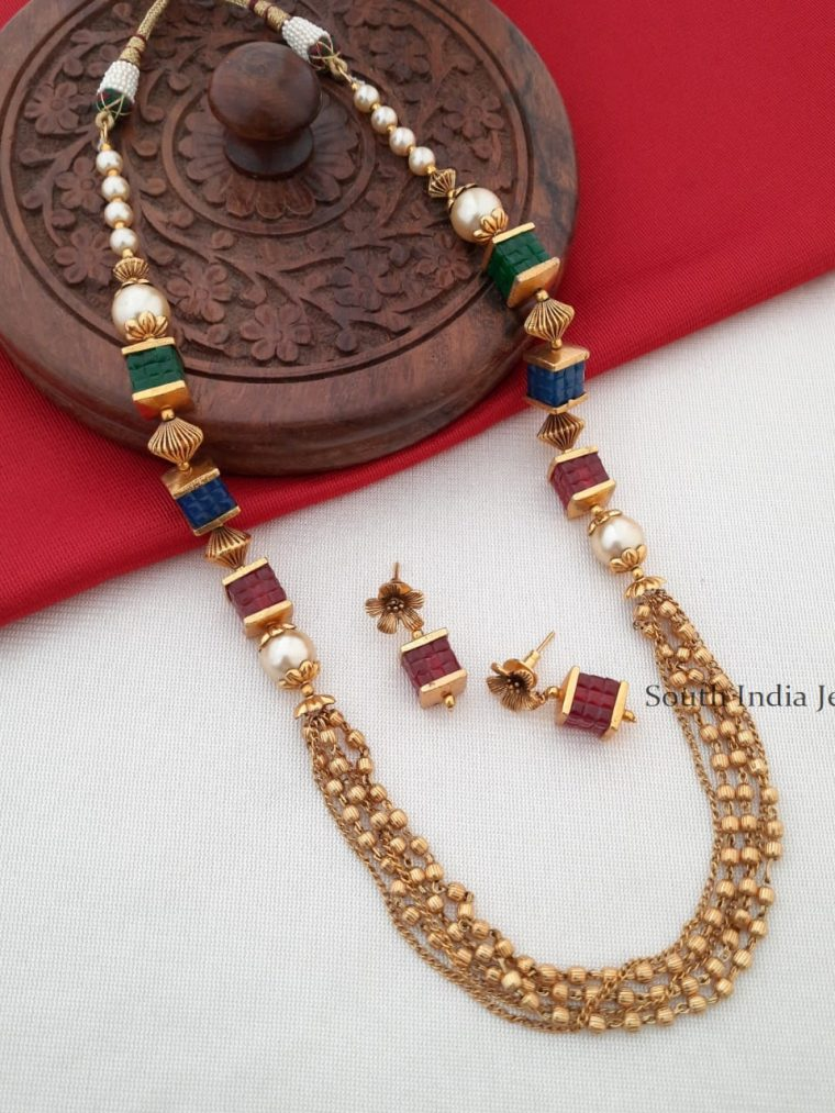 Gelly Beads Antique Gold Finish Necklace