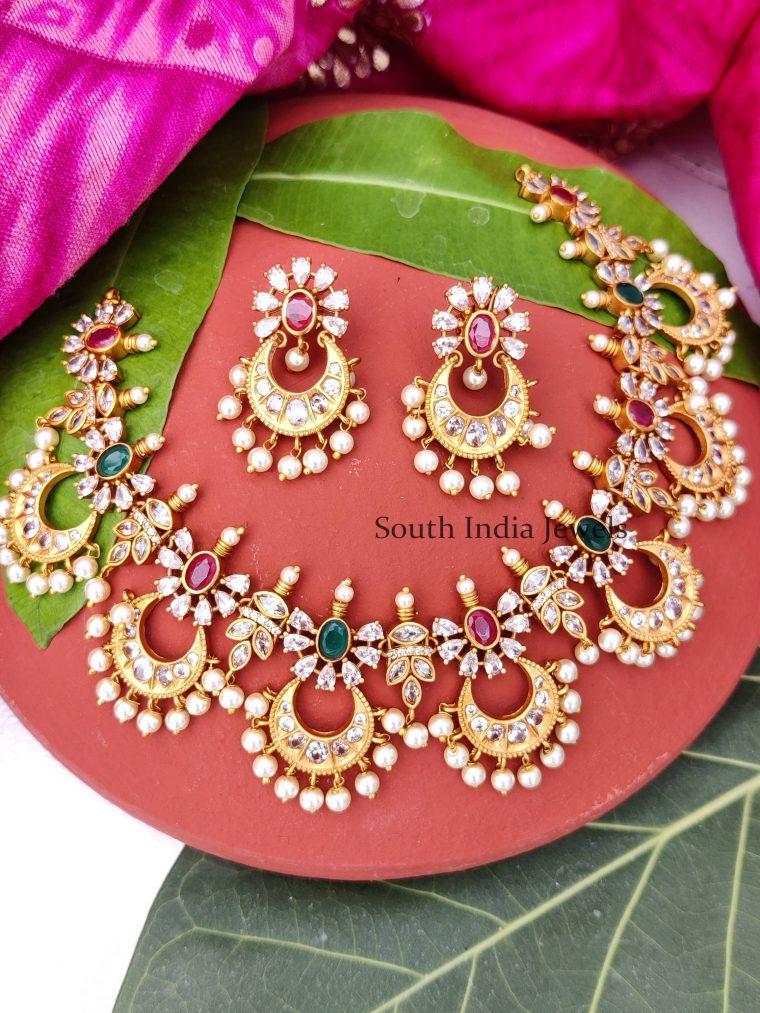 Glamorous Chandbali Stone Necklace Set