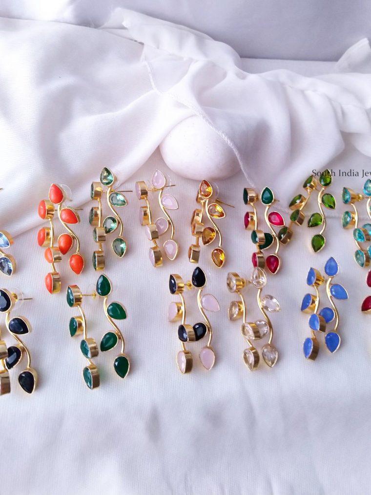 Glossy Leaf & Stem Design Earrings