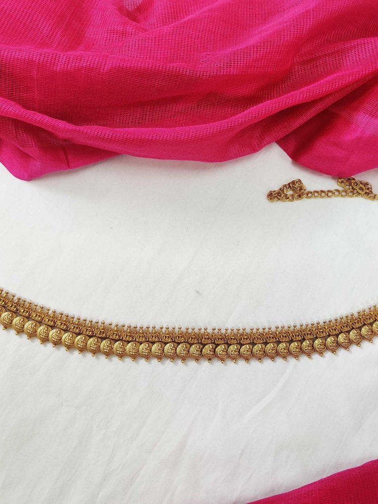 Gold Finish Lakshmi Coin Hipbelt