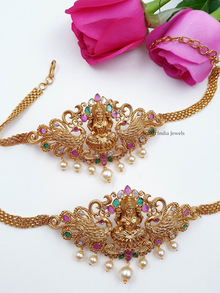 Gold Finish Lakshmi Design Armlet Set (2)