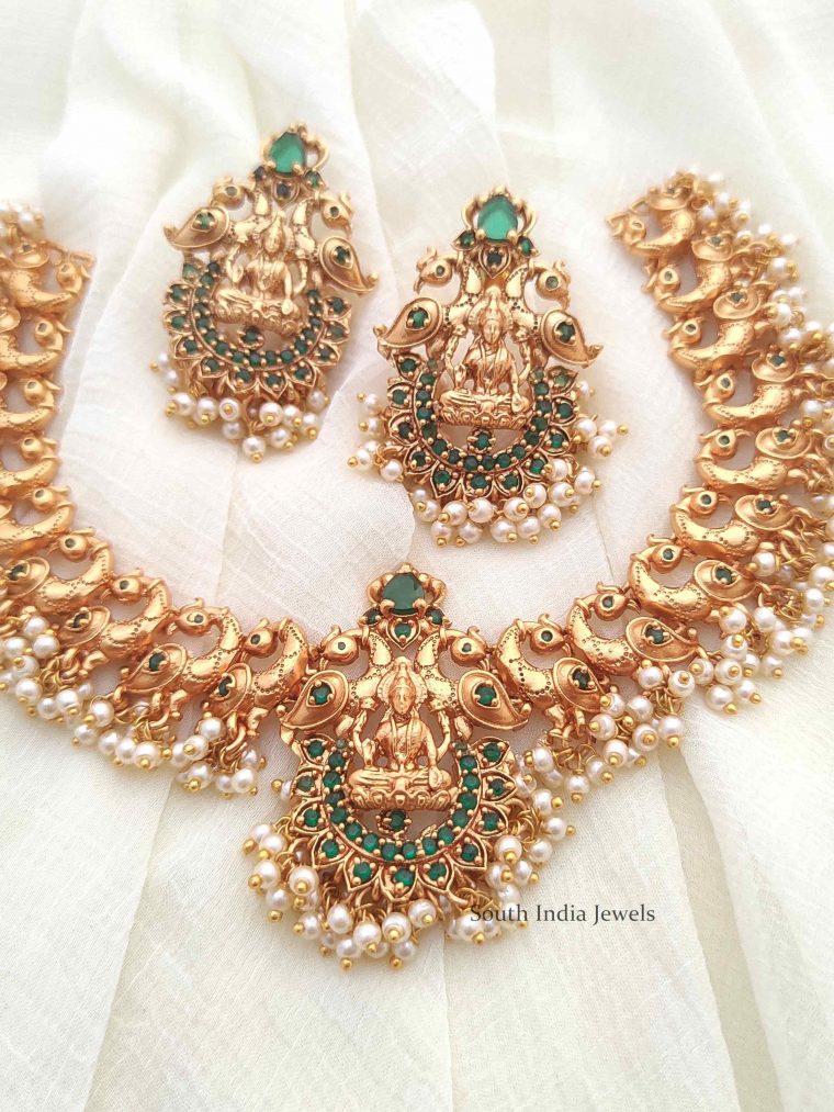 Gold Finish Lakshmi & Peacock Design Necklace (3)