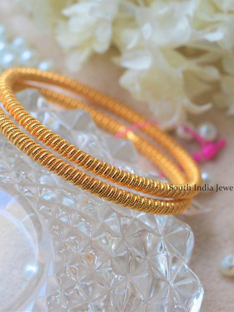 Gold Look Rope Design Bangles