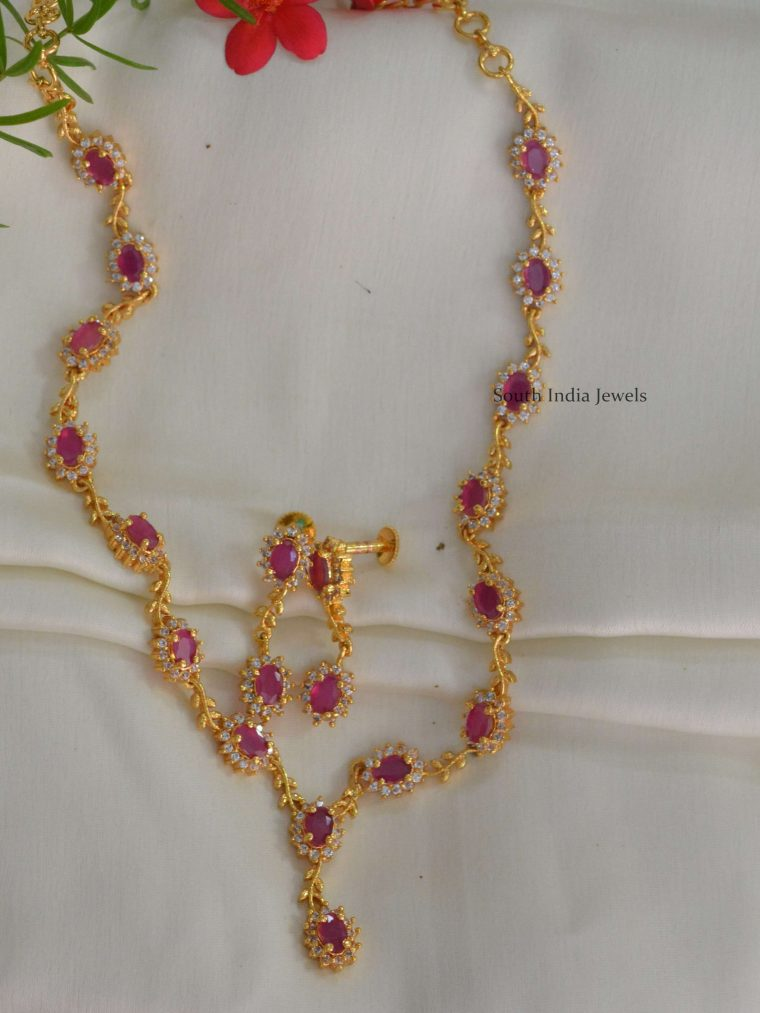 Gold Polish AD & Ruby Necklace