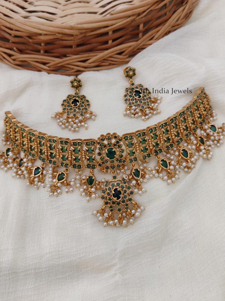 Gorgeous Bridal Green Choker Set
