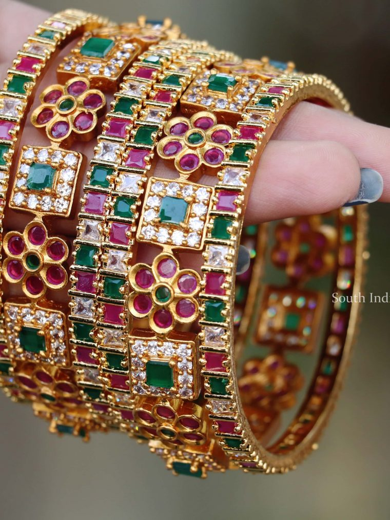 Gorgeous Multi Stone Bangle Set